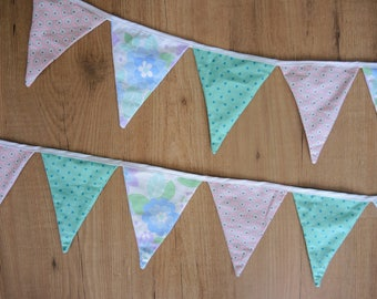 Bunting - flags - party decoration- vintage retro flowers pastel pink blue green