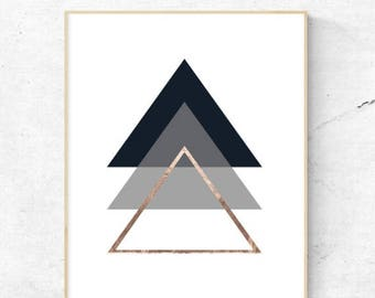 On Sale Geometric Triangles Rose Gold Wall Art. - Digital Prints, Instant Download - Home Decor, Wall art, print.