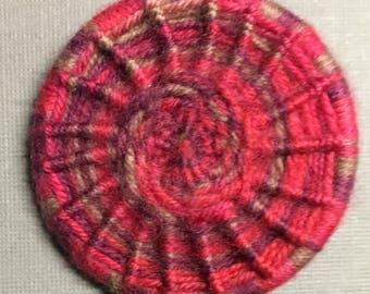 Dorset Button Brooch - pink wool
