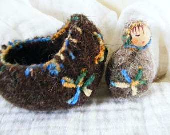 Felted Wool Cradle with Woodland Faerie Baby Play set Waldorf Craft