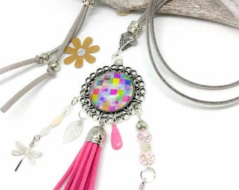 """Lariat Necklace suede with cabochon """"gray/fuchsia/Silver"""" """"trend"""""""