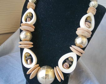 Wood, Brass, and Bone Necklace