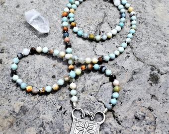 Amazonite / 108 Bead Mala / Hill Tribe Silver / Spirit Lock / Unique Mala / Yoga Jewelry / Meditation / Spiritual Jewelry / Gemstone Mala