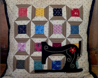 Quilt Pattern August Spool Stitching Pillow or tablemat or mini wall hanging 16 in from Farmhouse Threads