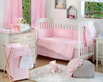 Pink Elephant Patchwork Baby Girls Crib Bedding Collection
