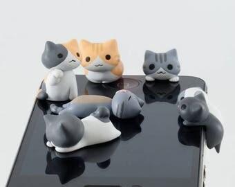 Mini 3.5mm Jack Resin Animal Cartoon Cat Cellphone Charms Earphone, Audio Headphone Anti Crown Dust Plug Mobile Phone Accessories