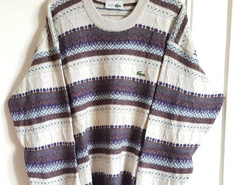Sweater 100% Pure wool Lacoste Vintage years 80-90 Made in France size 6 (XL) new.