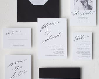 """Whimsical Black and White Modern Calligraphy Invitation / """"Beatrice"""" Suite"""