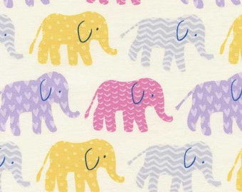 Organic elephant patchwork fabric in Candy by Timeless Treasures