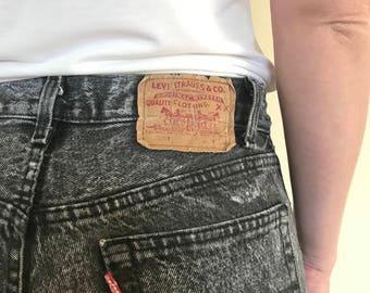 Vintage Levis Black Acid Wash Denim Jeans mens 29x30