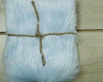 "18x20 Soft Baby Blue Mongolian Faux Fur, 5"" Pile Newborn Cuddly Faux Fur Nest Newborn, 1 Yard"