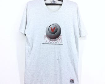 Vintage Vision Street Wear Big  Logo medium Size Skates Rap Tees