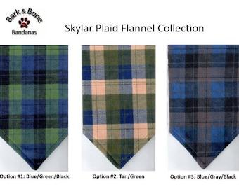 Skylar Plaid Flannel Bandana | Dog Bandana | Puppy Bandana | Over the Collar Dog Bandanas | Custom Dog Bandana | Flannel Bandana