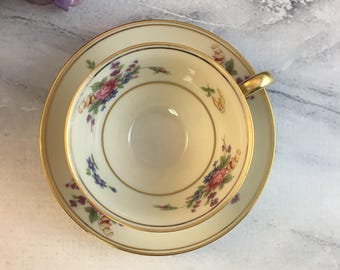 Tirschenreuth The Queens Rose 4416 Demitasse Teacup and Saucer Vintage Set Made in Bavaria Colorful Bouquets and Gold Multiples Orphan Cup
