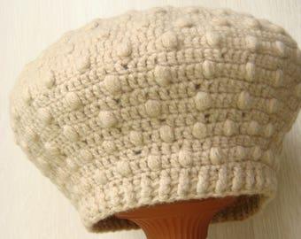 beret female, hat crochet, beige beret