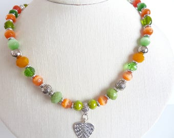 orange and green glass Crystal Necklace