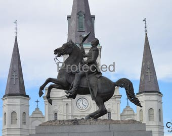 Andrew Jackson Statue with St. Louis Cathedral in New Orleans