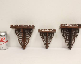 Chinese rosewood miniature wall shelves