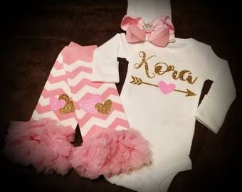 Monogramed, Baby Girl, Pink, White & Gold, 3 Piece Set, Baby Shower Or Coming Home Outfit...Super Adorable!