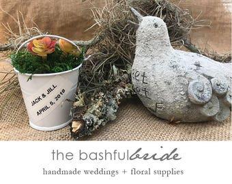 10 Succulent pail favor, bucket wedding favor, mini tin buckets, party favor pails.