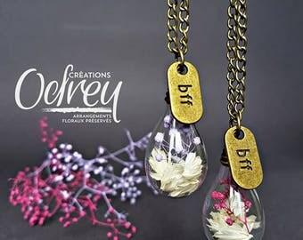 TWO BEST FRIEND, terrarium necklace, Globe glass friendship for sailboats, real flower charm brass rear view mirror Decoration