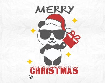 merry christmas panda bear SVG Clipart Cut Files Silhouette Cameo Svg for Cricut and Vinyl File cutting Digital cuts file DXF Png Pdf Eps
