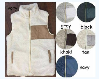 Sherpa vest, monogrammed, personalized, Adult