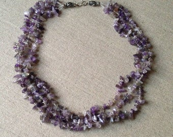 Vintage amethyst three strand necklace