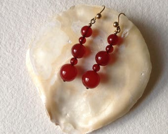 Vintage carnelian bead earrings