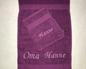 Set of washcloths and towel with name