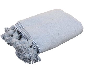 Pompomdecke Grey Cotton