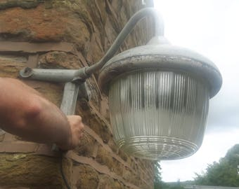 Vintage Antique Coughtrie Garden Outdoor Outside Corner Light Lamp Swan Neck Grey Metal Ribbed Glass Dome