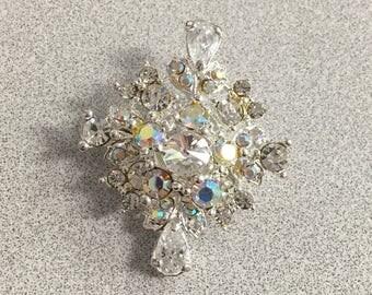 Diamond Shaped Aurora Borealis and Clear Rhinestones Pin Brooch