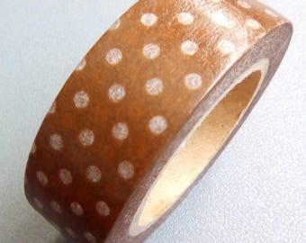 Masking tape 10 m brown white dots