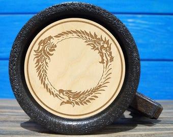 The Elder Scrolls Online Wooden Beer Mug, The Elder Scrolls Engraved Beer Mug Gift, Oblivion Mug, TES Wooden Mug