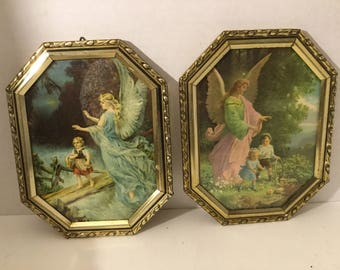 Vintage Victorian Guardian Angel /Religious/ Prints Of Angels And Children