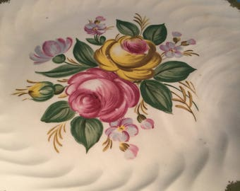 Royal China 22 Karat Gold Trimmed Plate. Cake Plate . Display Plate. Hand Painted Plate