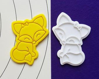 Cute Female Fox Cookie Cutter and Stamp