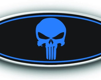 NEW Ford F150 2015-2017 Punisher Overlay Emblem Decal-Sticker Black & Blue Printed Vinyl Front, Rear, Steering Wheel