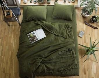 Linen Duvet Cover and Pillowcases,Linen Bedding Set,Washed Linen Bedding,Pure Linen Bedding,Linen Shams,Custom Size Bedding,Green Bed Linen
