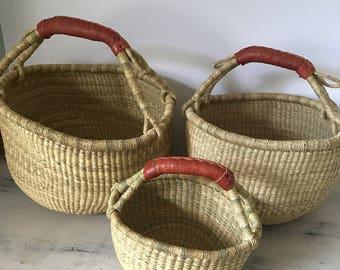 Fair Trade Bolga Basket, Large African Basket, Market Basket, Planter, Shopper, Toy Basket, Storage Basket, Toy Storage