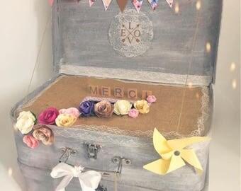 Urn double suitcase for wedding, baptism...