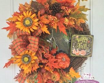Happy Fall grapevine wreath, Pumpkin fall wreath, Fall wreath, Traditional fall wreath, Fall front door wreath, Fall sunflower wreath