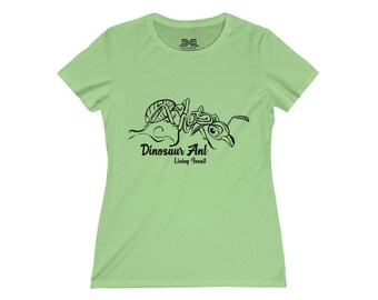 Womens Tee Shirt  Dinosaur Ant Black Prints