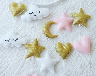 Heart star mobile, cloud and star mobile, baby girl mobile, glitter mobile, nursery mobile, baby girl mobile