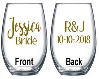 Set of 6 / Personalized Wine Glass / Bachelorette Party / Bridal Party Wine Glasses / Wine Glass / Bridesmaid Gift / Wedding Wine Glasses