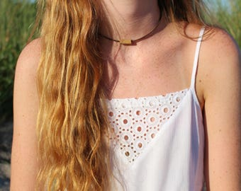 Brown Choker with a Wooden Charm Piece