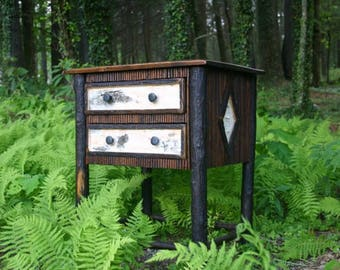Twig and Birch Bark Side Table