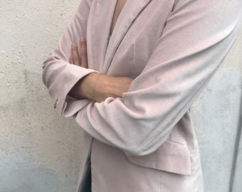 JACKET IN LIGHT pink velour/nude/ sex and the city/blush pink/ nordic/silver/elegant/ design/piiamay/scandinavian/suit/casual/womens fashion