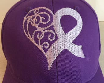 Custom Embroidered Purple Ribbon Heart - Alzheimer's Awareness